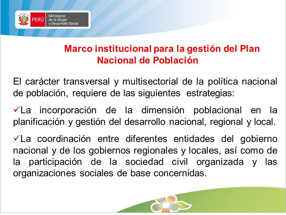 Marco institucional para la gestión del Plan Nacional de Población