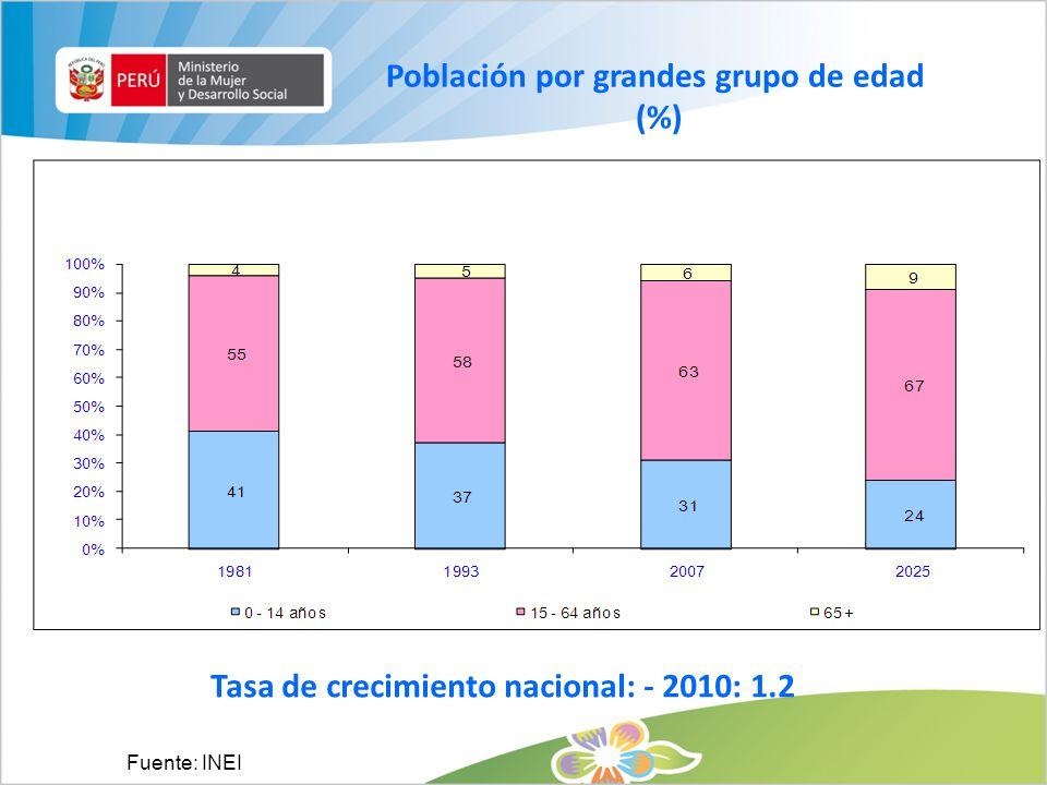 Población por grandes grupo de edad (%)