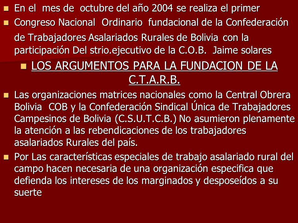 LOS ARGUMENTOS PARA LA FUNDACION DE LA C.T.A.R.B.