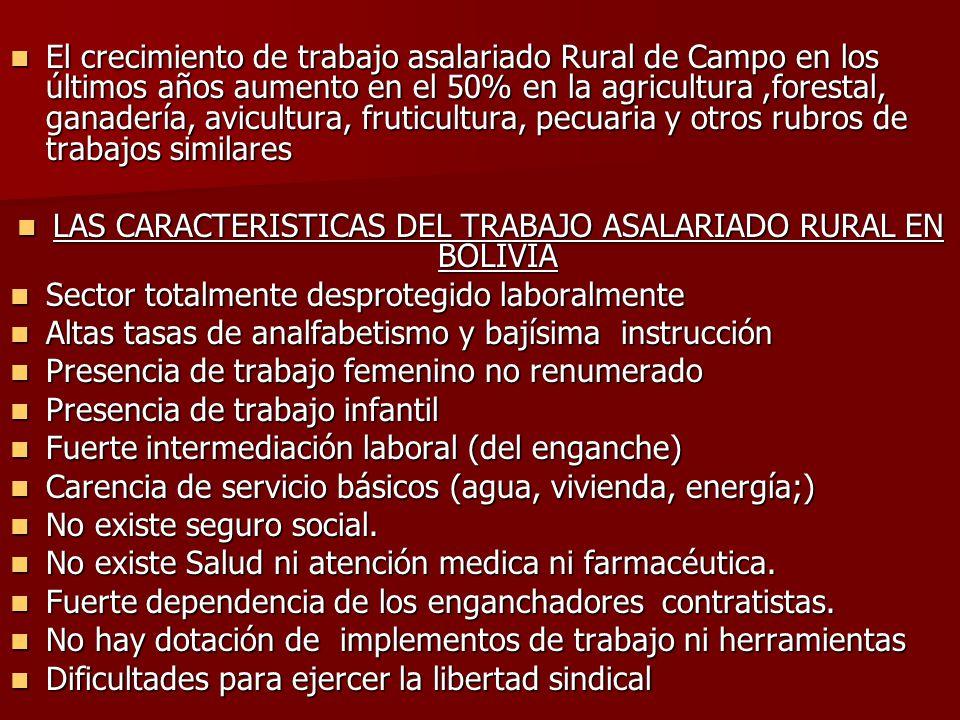 LAS CARACTERISTICAS DEL TRABAJO ASALARIADO RURAL EN BOLIVIA