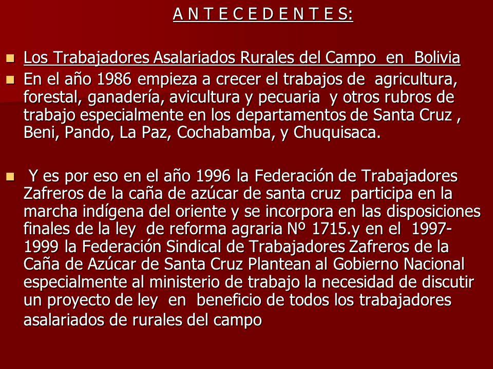 A N T E C E D E N T E S: Los Trabajadores Asalariados Rurales del Campo en Bolivia.