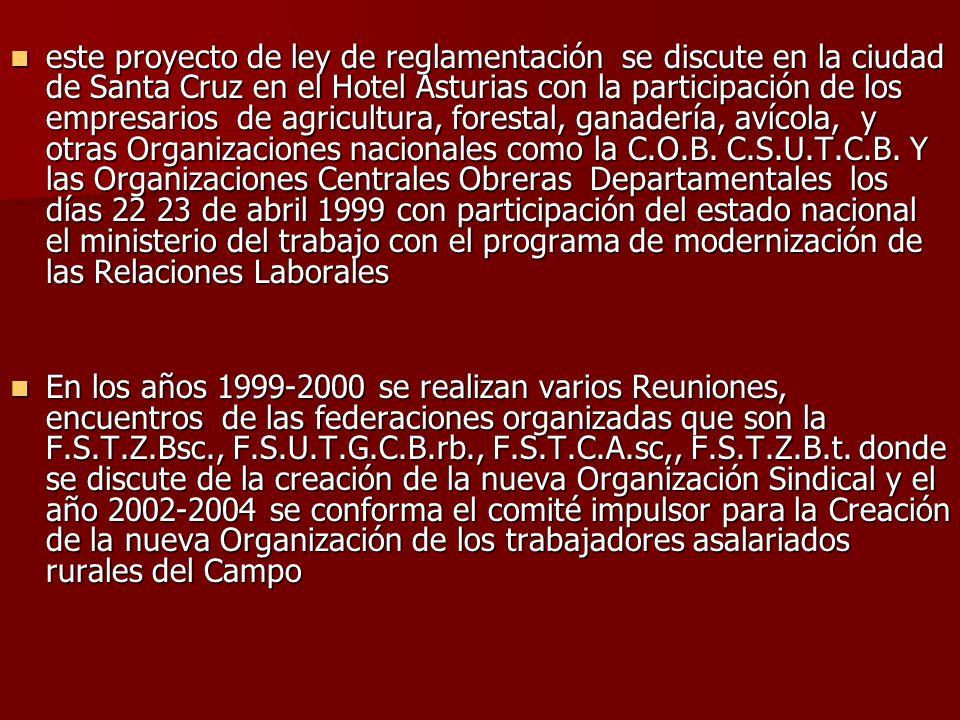 este proyecto de ley de reglamentación se discute en la ciudad de Santa Cruz en el Hotel Asturias con la participación de los empresarios de agricultura, forestal, ganadería, avícola, y otras Organizaciones nacionales como la C.O.B. C.S.U.T.C.B. Y las Organizaciones Centrales Obreras Departamentales los días 22 23 de abril 1999 con participación del estado nacional el ministerio del trabajo con el programa de modernización de las Relaciones Laborales
