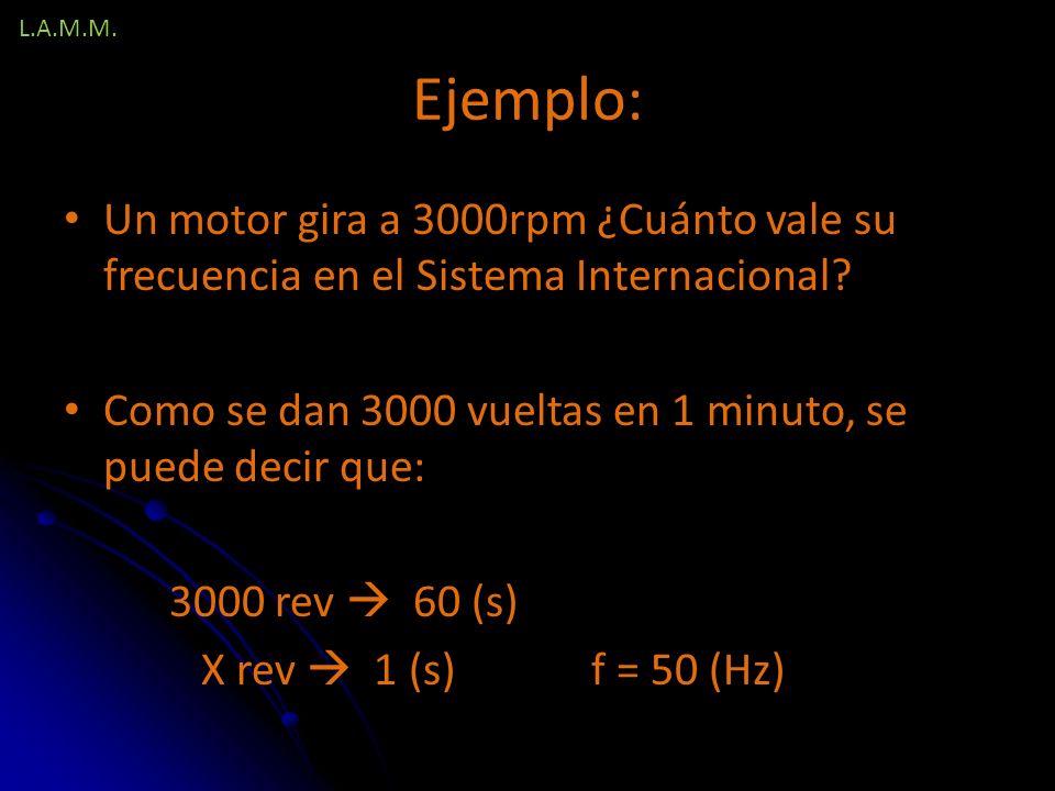 L.A.M.M. Ejemplo: Un motor gira a 3000rpm ¿Cuánto vale su frecuencia en el Sistema Internacional