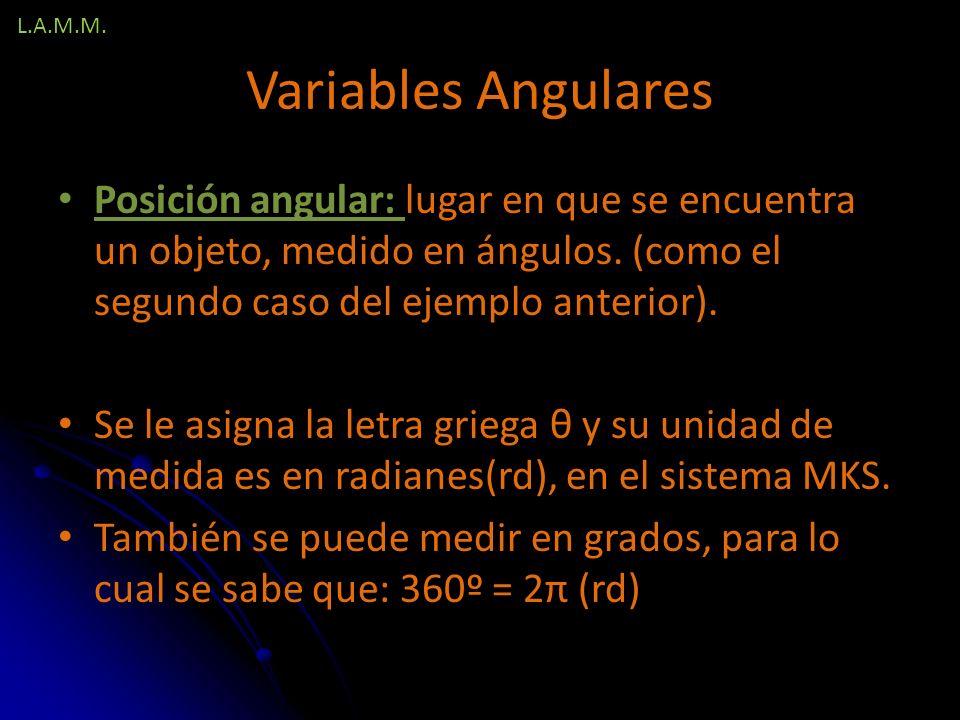L.A.M.M. Variables Angulares. Posición angular: lugar en que se encuentra un objeto, medido en ángulos. (como el segundo caso del ejemplo anterior).