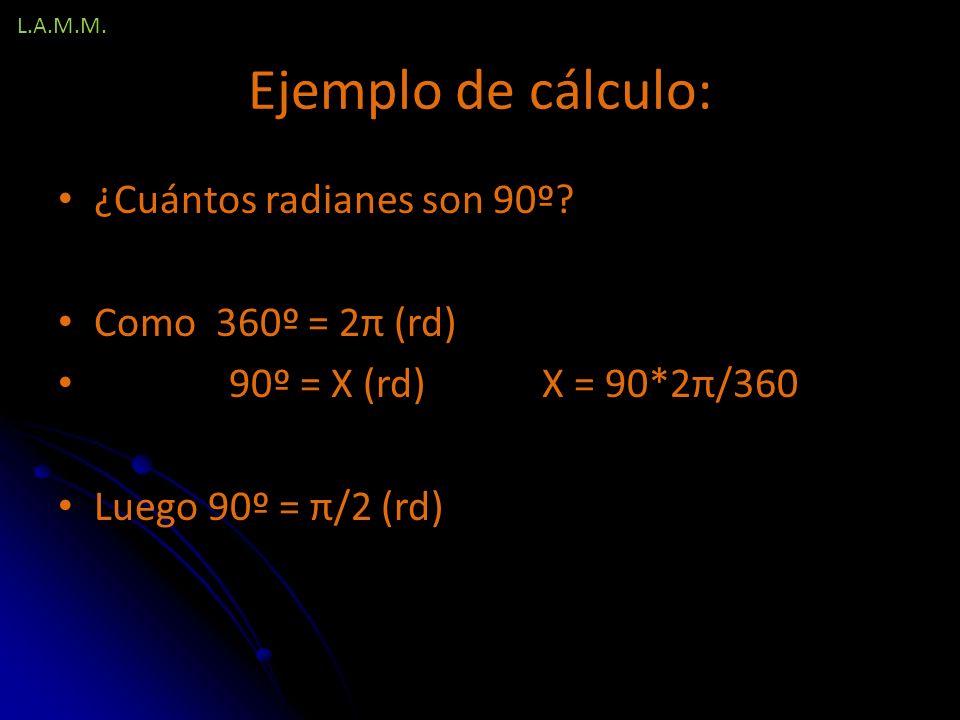 Ejemplo de cálculo: ¿Cuántos radianes son 90º Como 360º = 2π (rd)