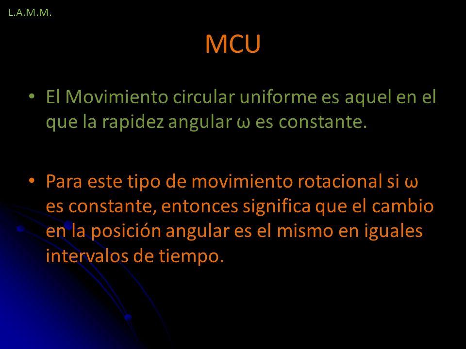 L.A.M.M. MCU. El Movimiento circular uniforme es aquel en el que la rapidez angular ω es constante.