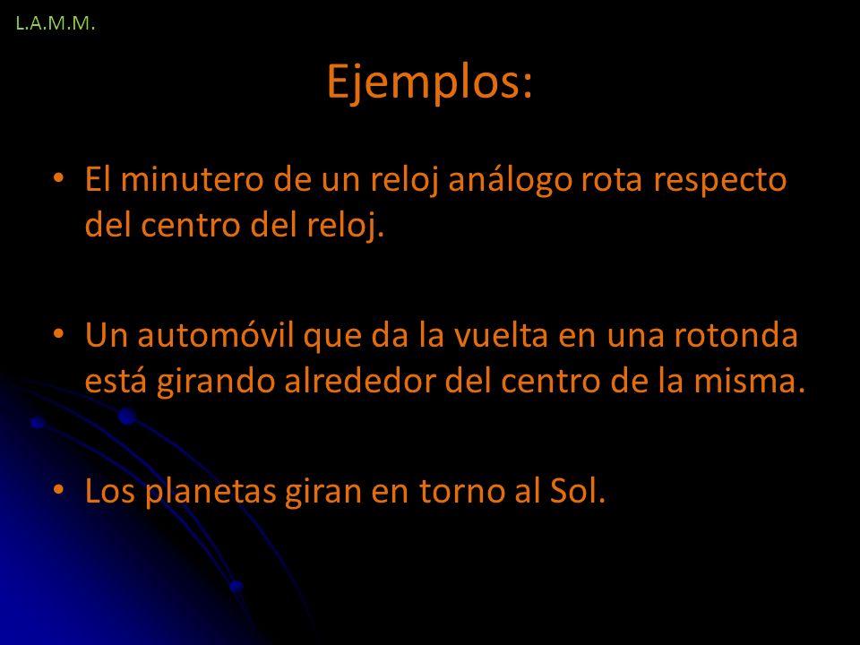 L.A.M.M. Ejemplos: El minutero de un reloj análogo rota respecto del centro del reloj.