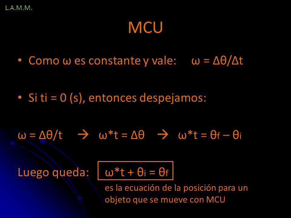 MCU Como ω es constante y vale: ω = Δθ/Δt