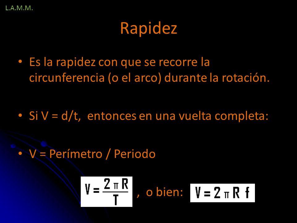 L.A.M.M. Rapidez. Es la rapidez con que se recorre la circunferencia (o el arco) durante la rotación.
