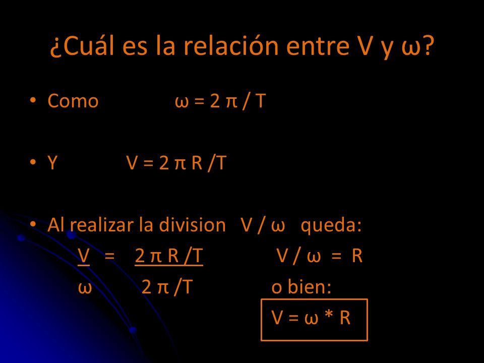 ¿Cuál es la relación entre V y ω
