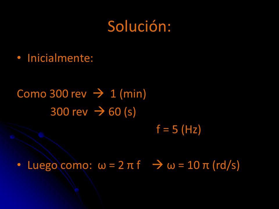 Solución: Inicialmente: Como 300 rev  1 (min) 300 rev  60 (s)