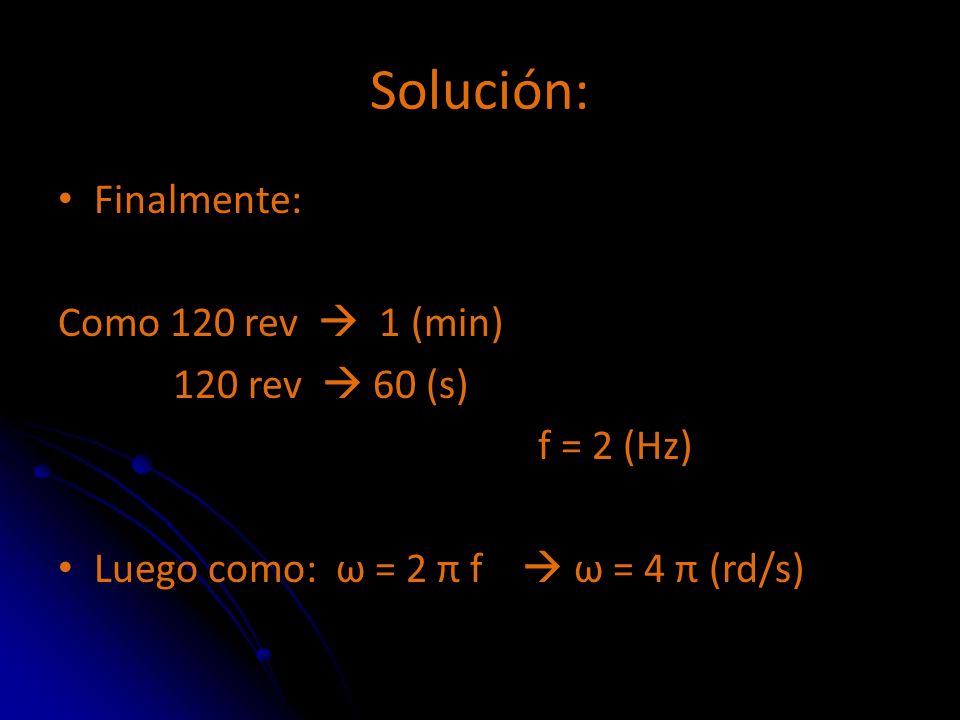Solución: Finalmente: Como 120 rev  1 (min) 120 rev  60 (s)