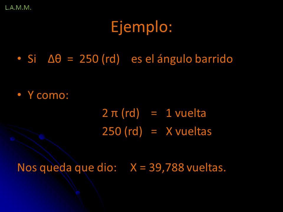 Ejemplo: Si Δθ = 250 (rd) es el ángulo barrido Y como: