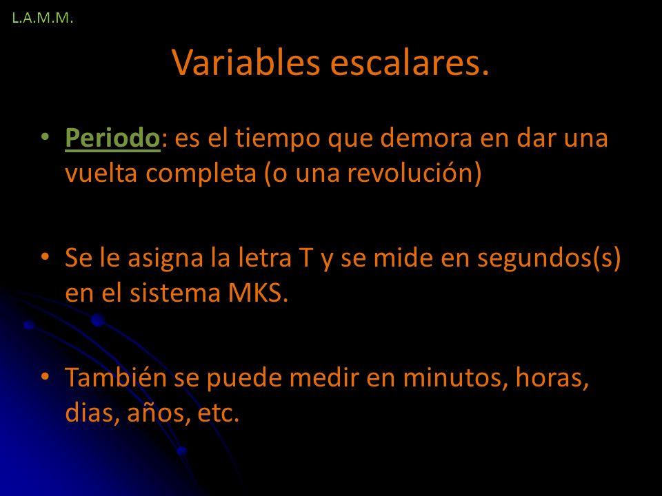 L.A.M.M. Variables escalares. Periodo: es el tiempo que demora en dar una vuelta completa (o una revolución)