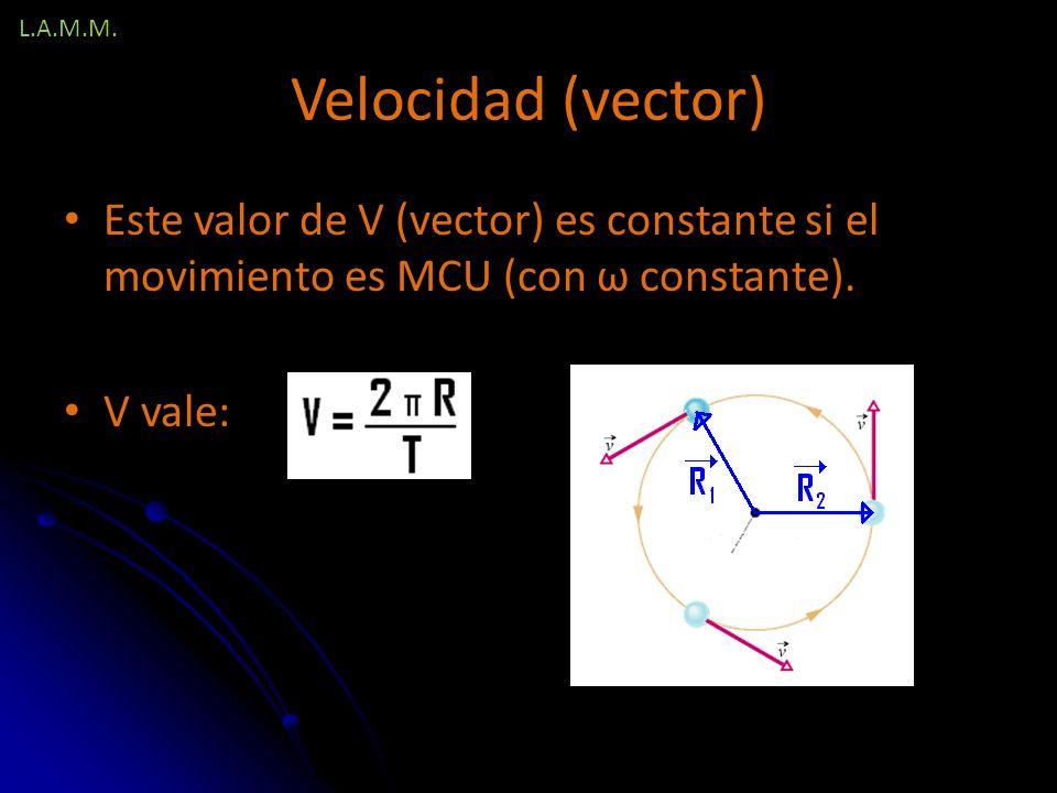 L.A.M.M. Velocidad (vector) Este valor de V (vector) es constante si el movimiento es MCU (con ω constante).