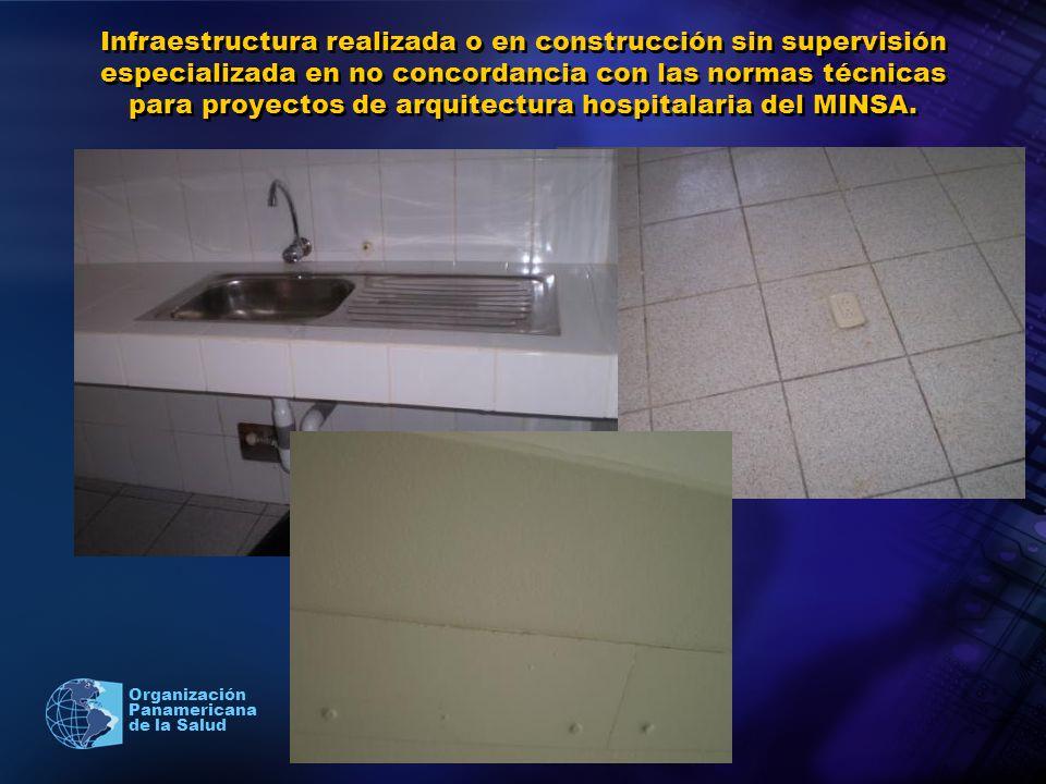Infraestructura realizada o en construcción sin supervisión especializada en no concordancia con las normas técnicas para proyectos de arquitectura hospitalaria del MINSA.