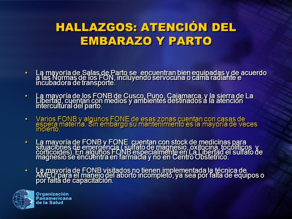HALLAZGOS: ATENCIÓN DEL EMBARAZO Y PARTO