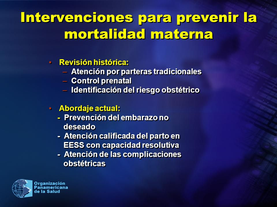 Intervenciones para prevenir la mortalidad materna