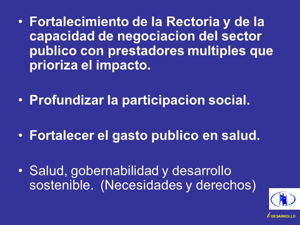 Fortalecimiento de la Rectoria y de la capacidad de negociacion del sector publico con prestadores multiples que prioriza el impacto.