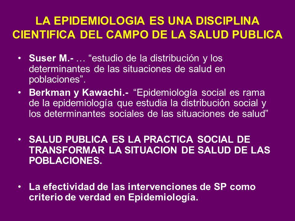 LA EPIDEMIOLOGIA ES UNA DISCIPLINA CIENTIFICA DEL CAMPO DE LA SALUD PUBLICA