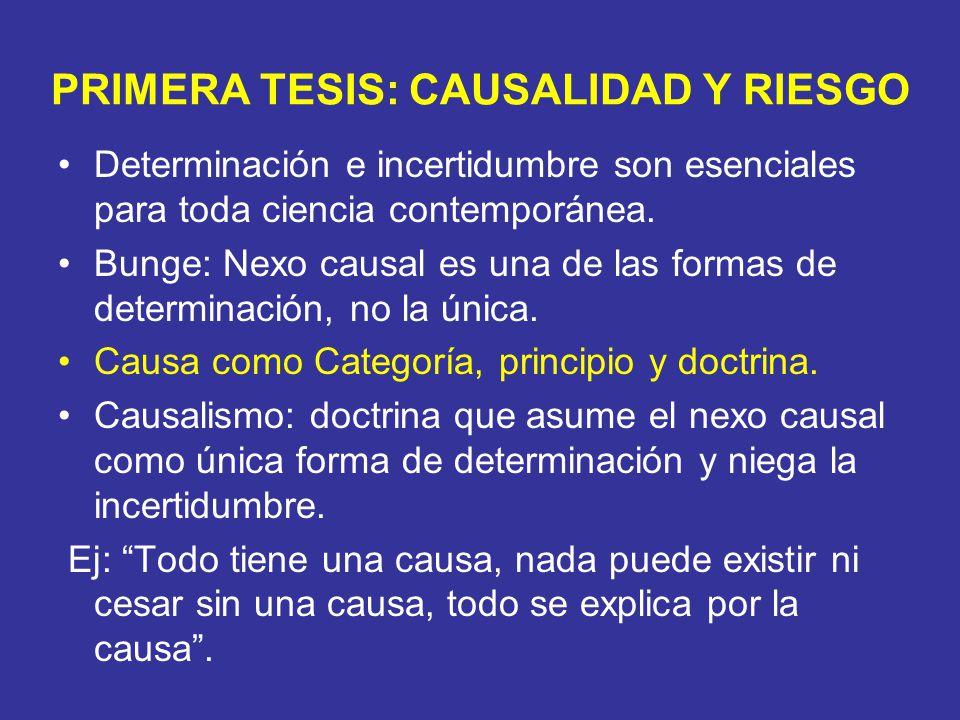 PRIMERA TESIS: CAUSALIDAD Y RIESGO