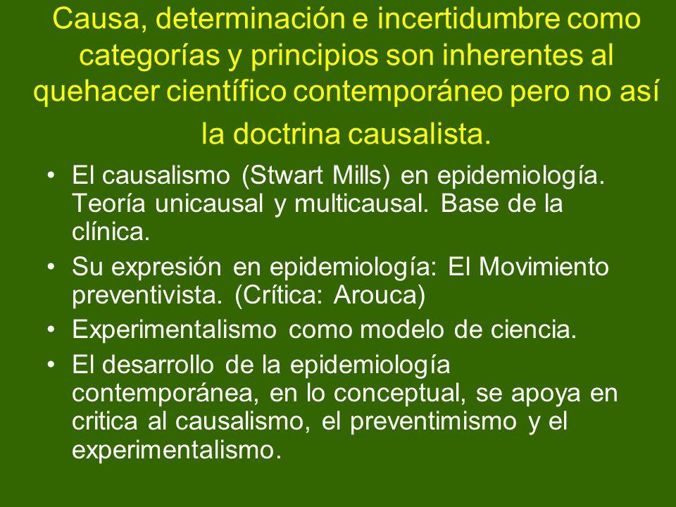 Causa, determinación e incertidumbre como categorías y principios son inherentes al quehacer científico contemporáneo pero no así la doctrina causalista.