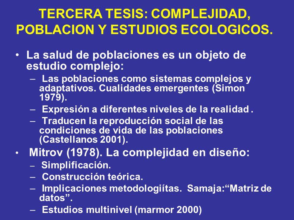 TERCERA TESIS: COMPLEJIDAD, POBLACION Y ESTUDIOS ECOLOGICOS.