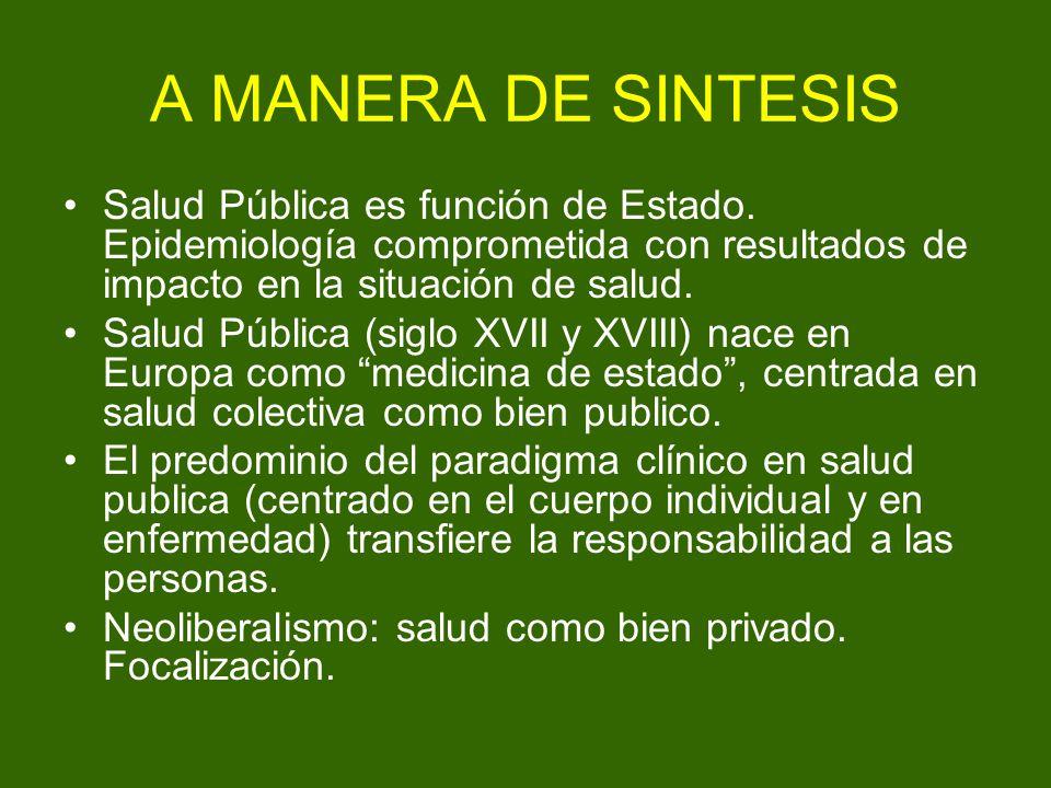 A MANERA DE SINTESIS Salud Pública es función de Estado. Epidemiología comprometida con resultados de impacto en la situación de salud.