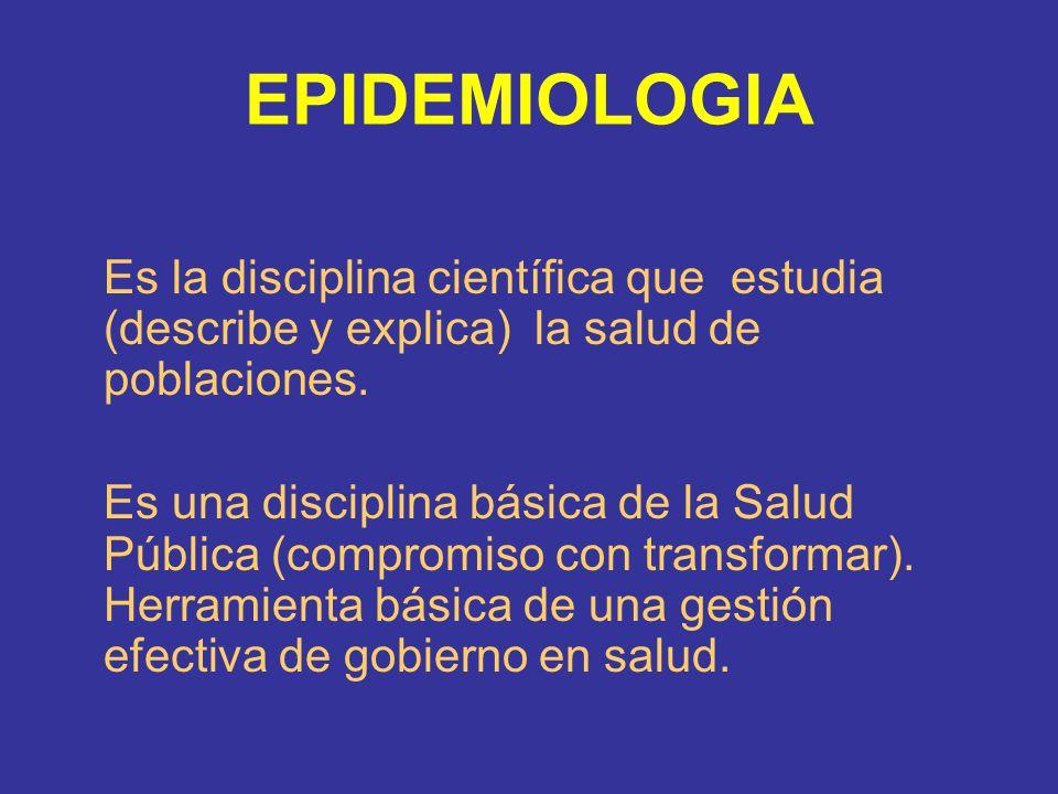 EPIDEMIOLOGIA Es la disciplina científica que estudia (describe y explica) la salud de poblaciones.