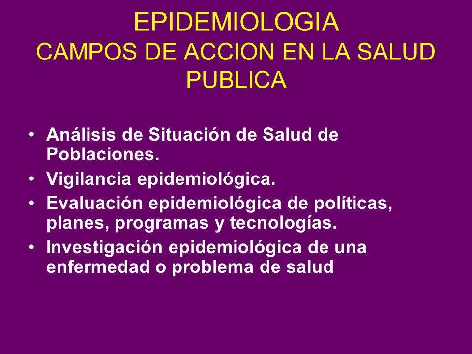 EPIDEMIOLOGIA CAMPOS DE ACCION EN LA SALUD PUBLICA
