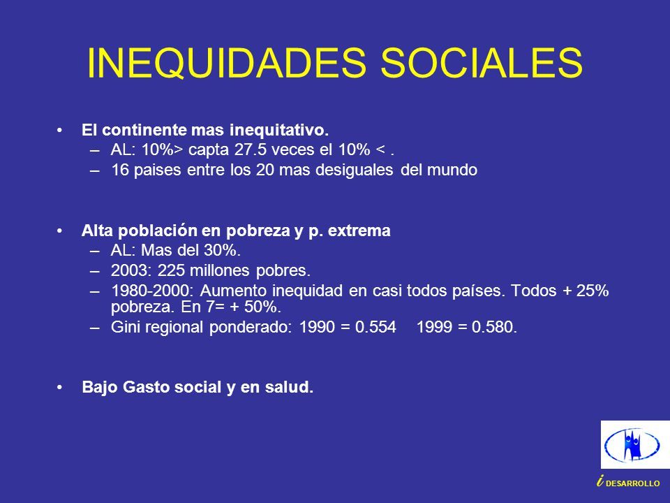 INEQUIDADES SOCIALES i DESARROLLO El continente mas inequitativo.