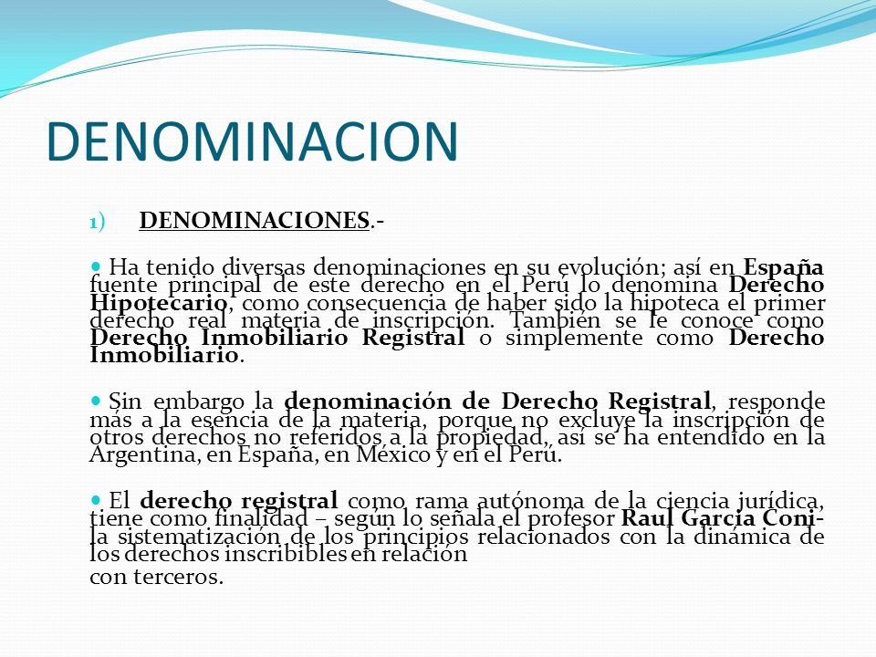 DENOMINACION DENOMINACIONES.-