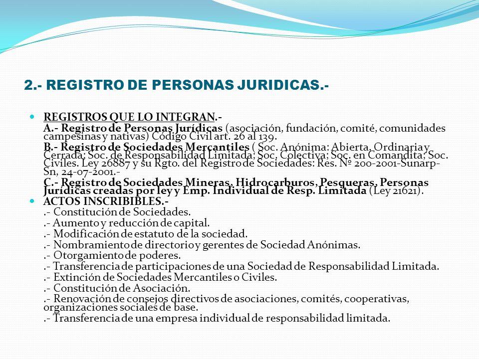 2.- REGISTRO DE PERSONAS JURIDICAS.-