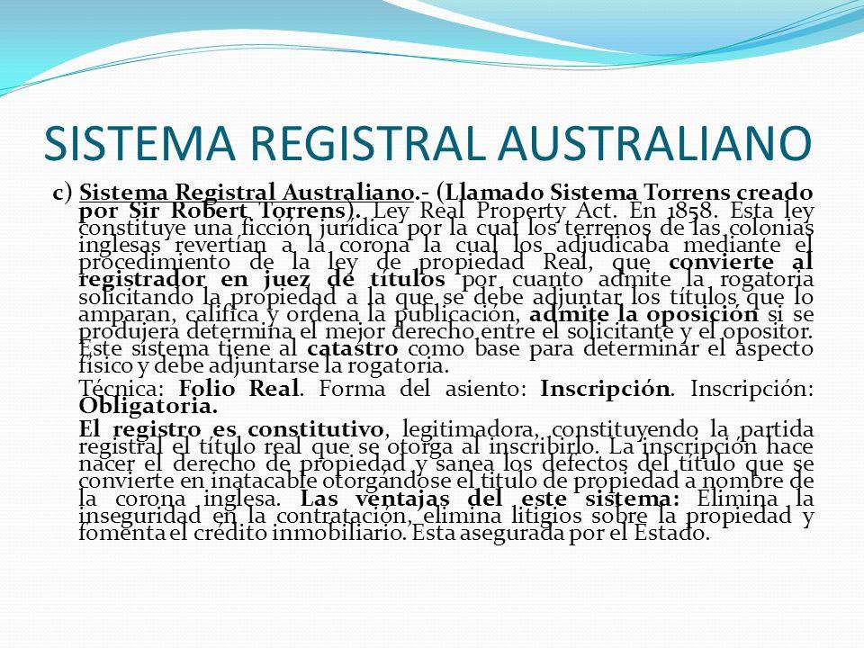 SISTEMA REGISTRAL AUSTRALIANO