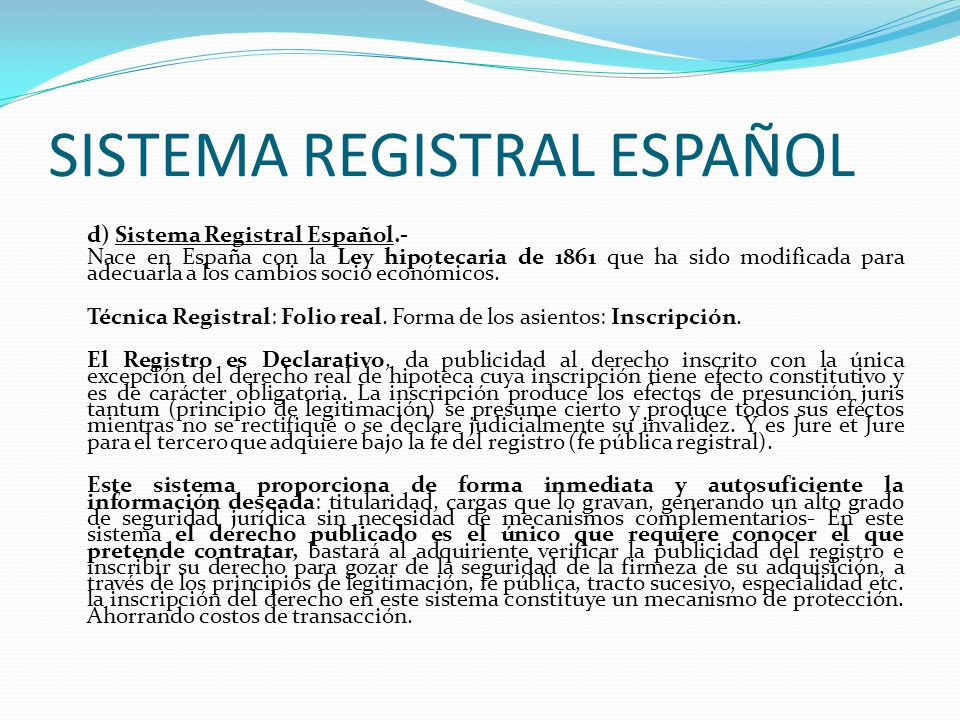 SISTEMA REGISTRAL ESPAÑOL