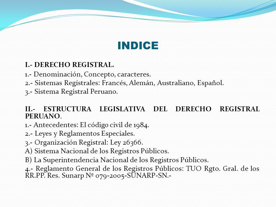 INDICE I.- DERECHO REGISTRAL. 1.- Denominación, Concepto, caracteres.