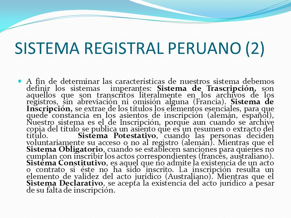 SISTEMA REGISTRAL PERUANO (2)