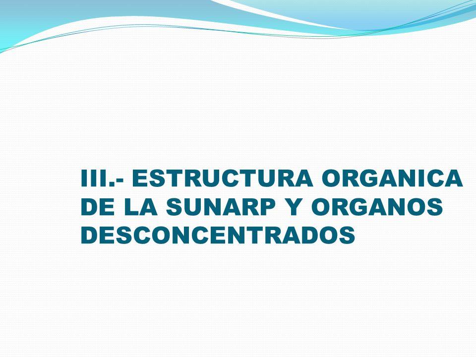 III.- ESTRUCTURA ORGANICA DE LA SUNARP Y ORGANOS DESCONCENTRADOS