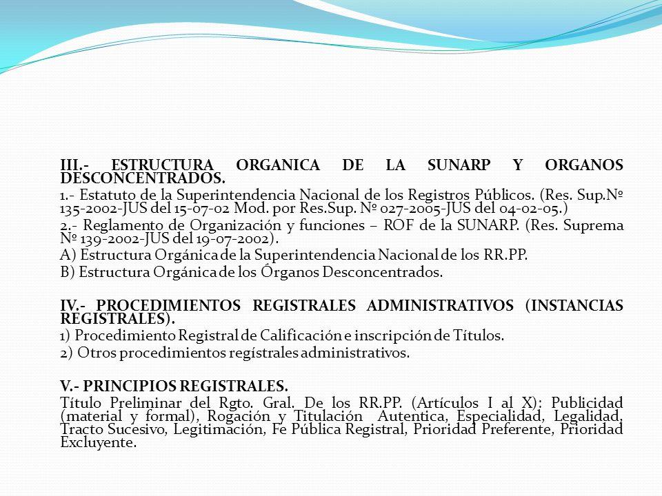III. - ESTRUCTURA ORGANICA DE LA SUNARP Y ORGANOS DESCONCENTRADOS. 1
