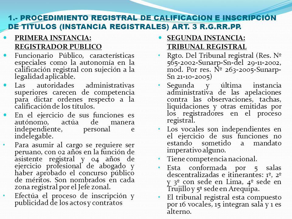 1.- PROCEDIMIENTO REGISTRAL DE CALIFICACION E INSCRIPCIÓN DE TITULOS (INSTANCIA REGISTRALES) ART. 3 R.G.RR.PP.