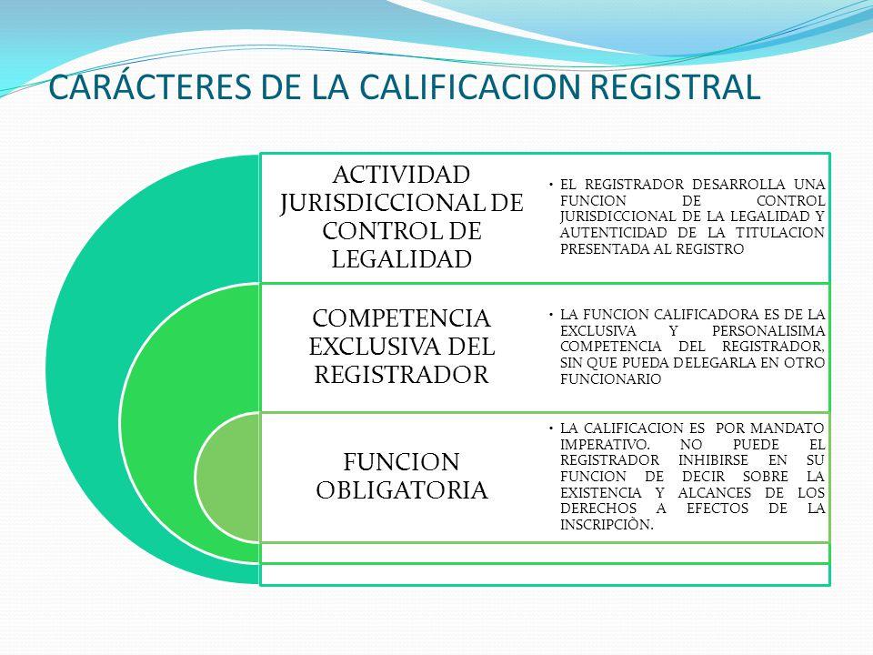 CARÁCTERES DE LA CALIFICACION REGISTRAL