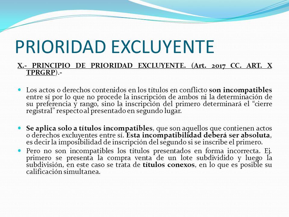 PRIORIDAD EXCLUYENTE X.- PRINCIPIO DE PRIORIDAD EXCLUYENTE. (Art. 2017 CC. ART. X TPRGRP).-