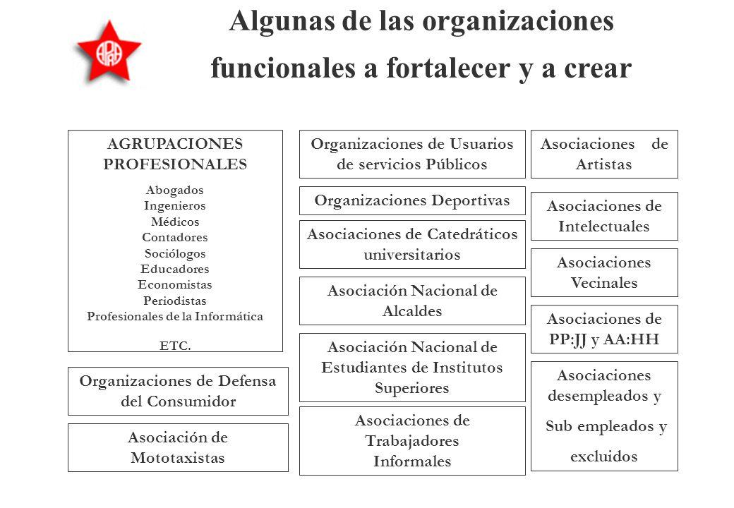 Algunas de las organizaciones funcionales a fortalecer y a crear