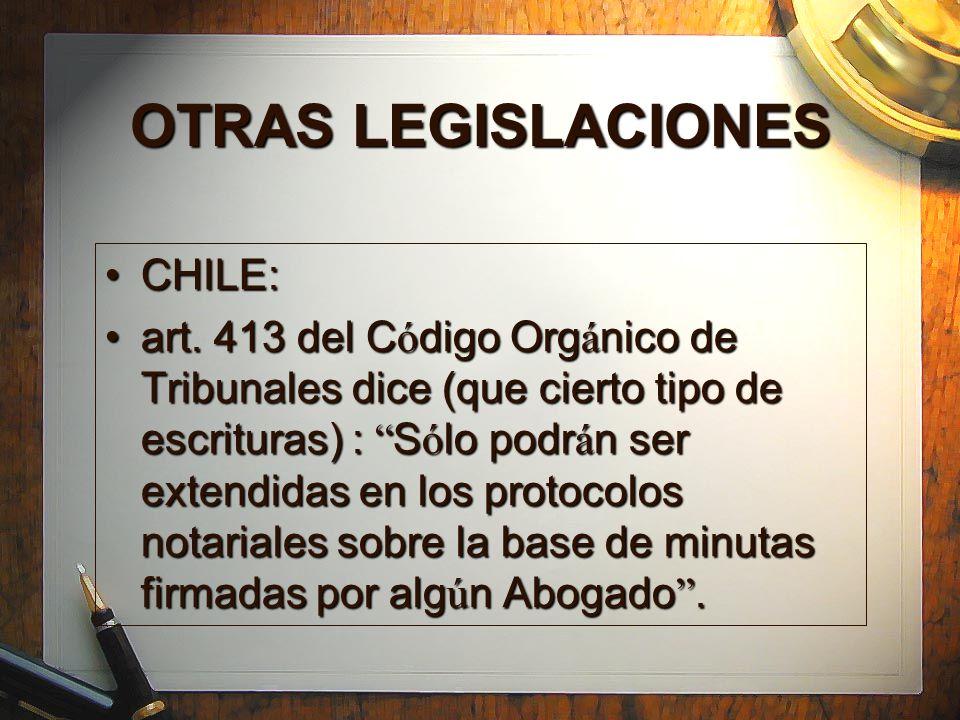 OTRAS LEGISLACIONES CHILE: