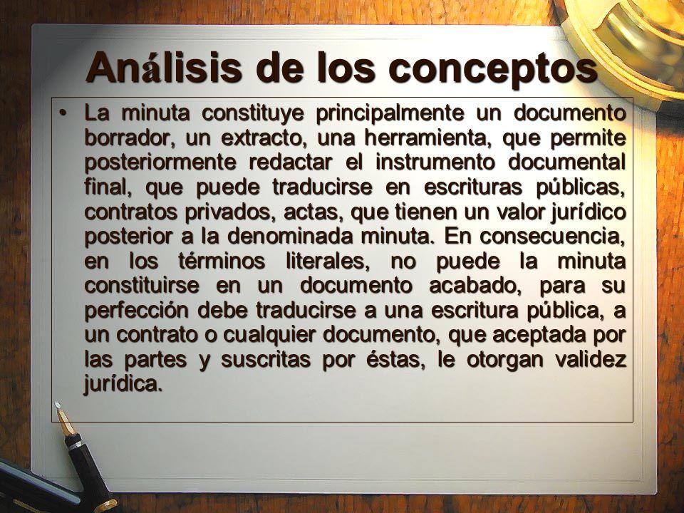 Análisis de los conceptos