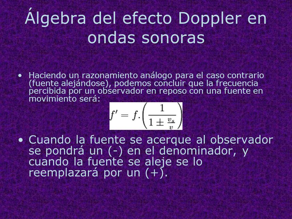 Álgebra del efecto Doppler en ondas sonoras