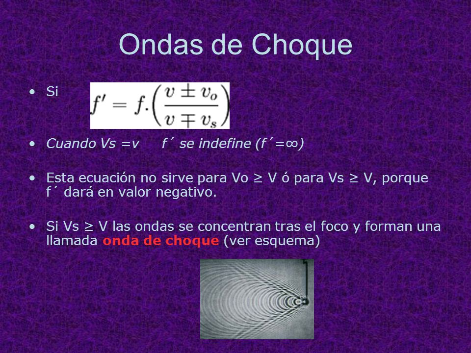 Ondas de Choque Si Cuando Vs =v f´ se indefine (f´=∞)