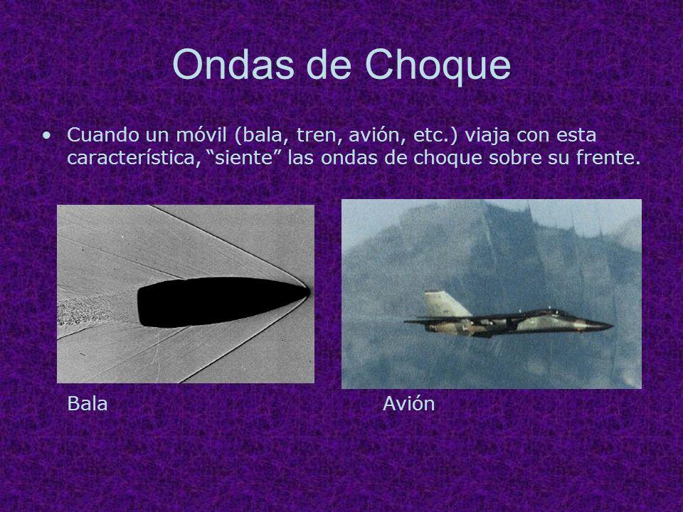 Ondas de Choque Cuando un móvil (bala, tren, avión, etc.) viaja con esta característica, siente las ondas de choque sobre su frente.