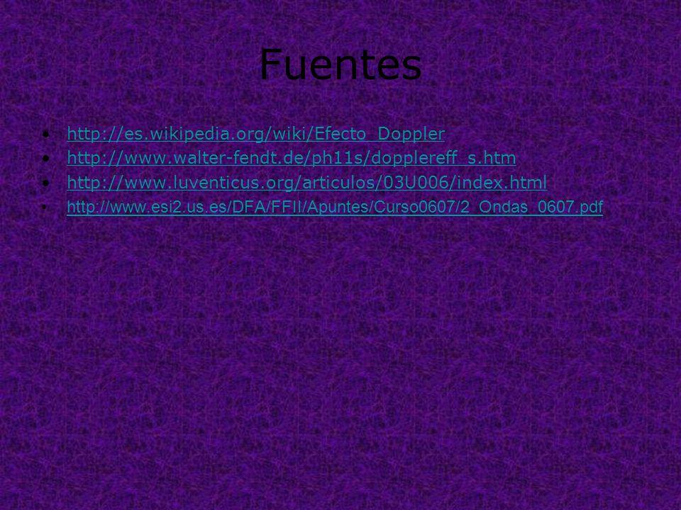 Fuentes http://es.wikipedia.org/wiki/Efecto_Doppler