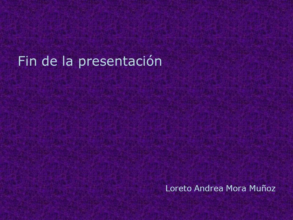 Fin de la presentación Loreto Andrea Mora Muñoz